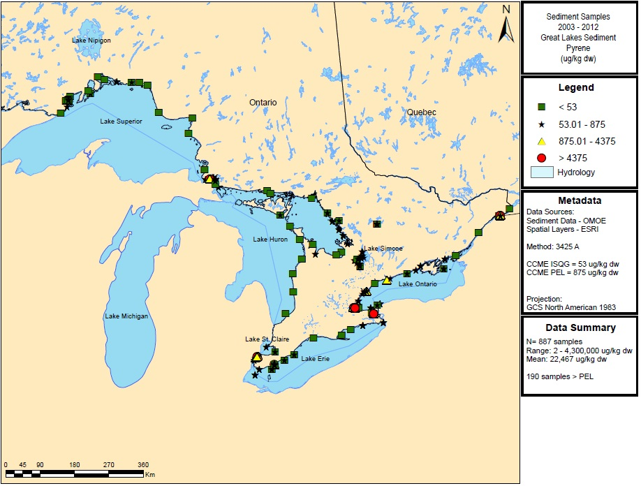 Figure 21: This figure shows the concentrations of pyrene in micrograms per kilogram dry weight in sediment samples in Lake Superior, Lake Huron, Lake Ontario and Lake Erie from 2003 to 2012.  Elevated concentrations of greater than 4,375 micrograms per kilogram dry weight are indicated by red circles in Lakes Superior, Erie and Ontario.