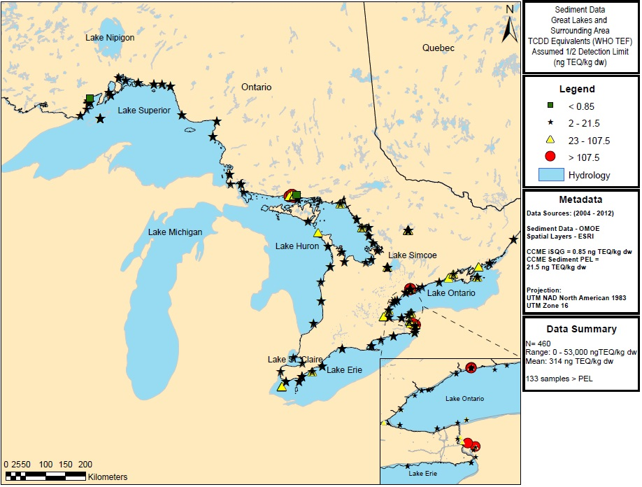 Figure 2: This figure shows the concentrations of dioxins and furans in nanograms toxic equivalency factors Toxic Equivalencies per kilogram dry weight in sediment samples in Lake Superior, Lake Huron, Lake Ontario and Lake Erie from  2004 to 2012. Elevated concentrations of greater than 107.5 Toxic Equivalencies per kilogram dry weight are indicated by red circles in Lake Huron and Lake Ontario.
