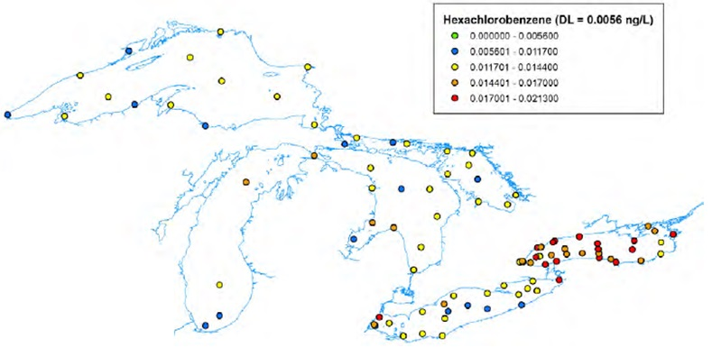 Figure 3: This figure shows the concentrations of hexachlorobenzene in nanograms per litre in water samples in the Great Lakes from 2004 to 2007. All elevated concentrations are located in Lake Ontario with the exception of one sample in the Saint Clair River which exceeded the Ontario provincial sediment quality guideline.