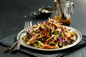 Tricolour Cabbage and Chicken Slaw