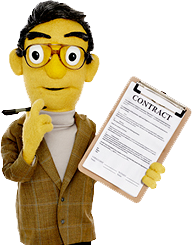 Photo of Sheldon holding a contract form