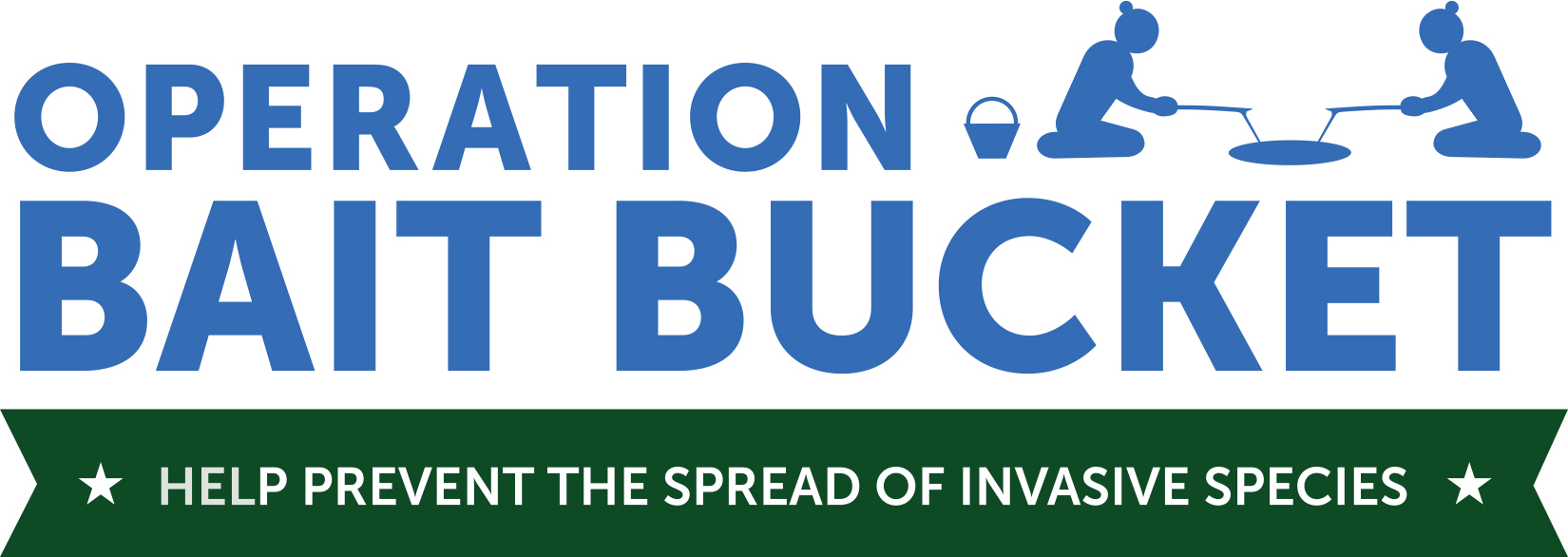 Image of the logo for Operation Bait Bucket shows two anglers with rods in fishing hole with the tag line 'Help Prevent the Spread of Invasive Species'
