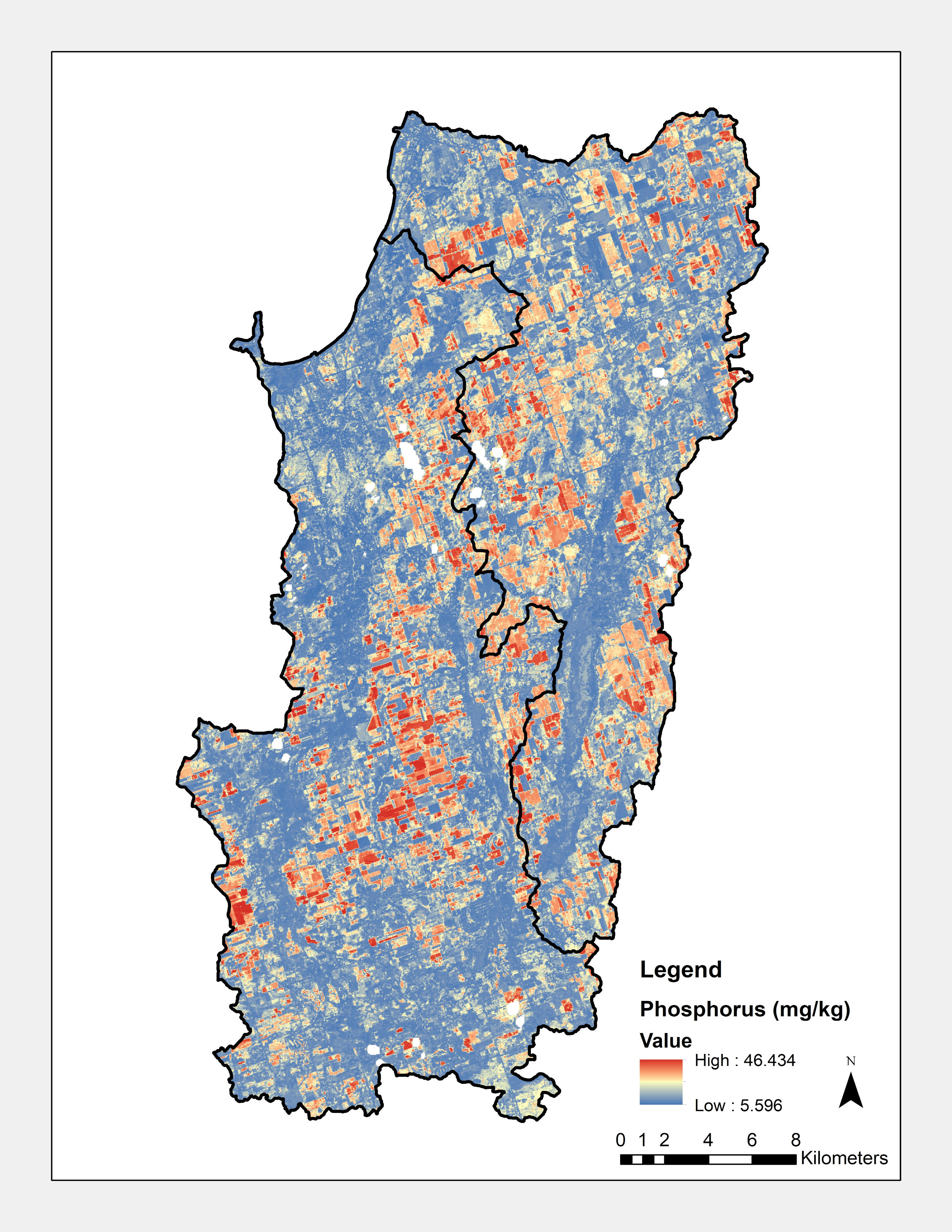 This image is of a map of the Pefferlaw/Uxbridge and Beaver subwatersheds showing the phosphorus estimates on the area on a scale where high estimates are red, medium estimates are yellow and low estimates are blue