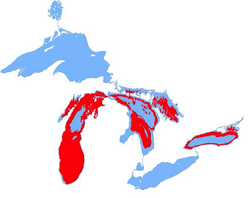 Historical distribution of Shortnose Cisco in the Great Lakes.