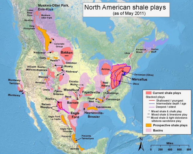 North American Shale Gas And Shale Oil Resources Map Of Current Shale Plays Prospective