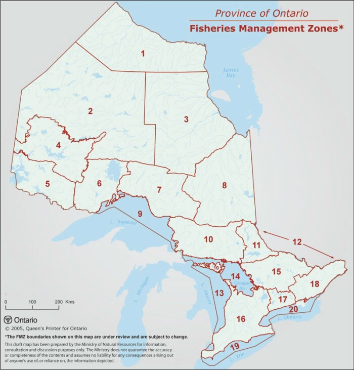 This map shows the locations of Ontario's 20 fisheries management zones, from FMZ 1 in extreme northern Ontario to Lake Ontario which is FMZ 20.