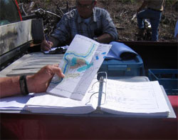 Forester reading a plan