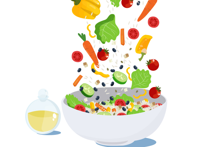 Vector image of bowl with vegetables, beans and rice
