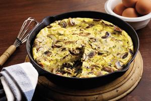 Leek, Mushroom and Cheese Frittata