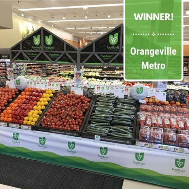 In store grocery display of colourfully organized greenhouse vegetables