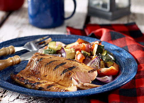 Grilled Honey Garlic Trout and Vegetables
