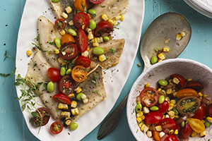 Grilled Perch with Charred Corn and Tomato Salad