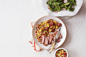 Grilled Steaks with Corn and Nectarine Salsa