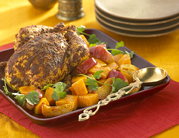 Indian Roast Chicken with Squash and Apples