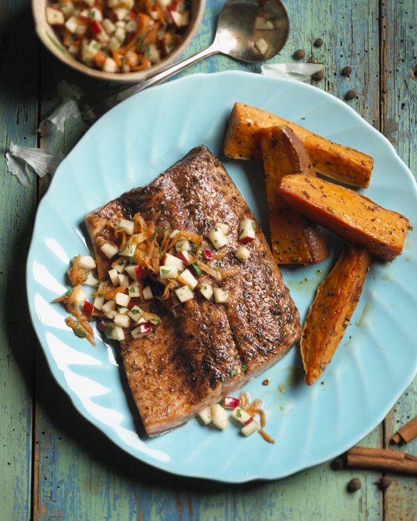 Jerk-Style Trout with Apple-Carrot Relish