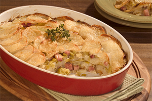 Leek, Potato and Ham Gratin