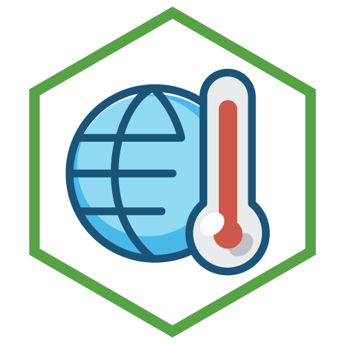 An icon showing a planet and a thermometer