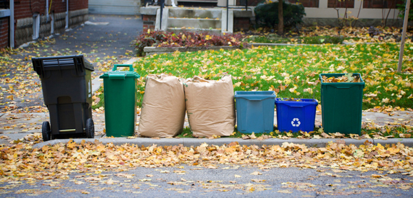 An image showing curb side pickup for various waste bins