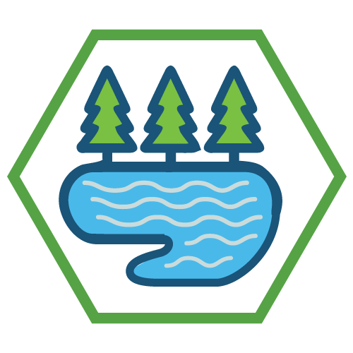 An icon showing trees and a lake