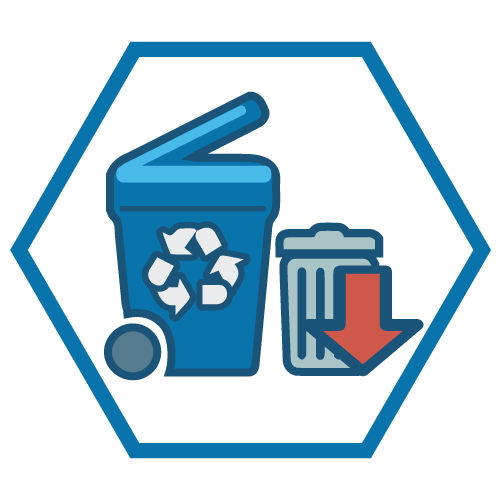 An icon showing a garbage and recycling container