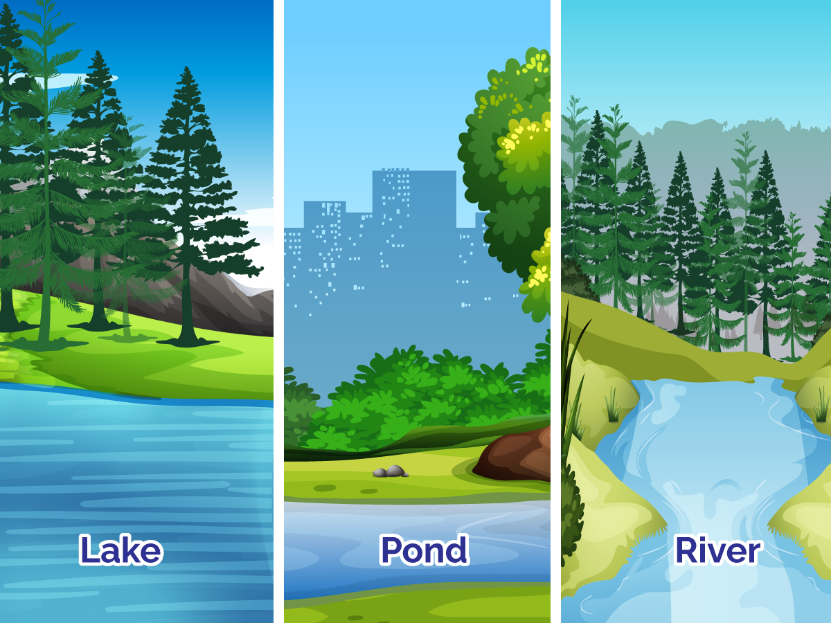Graphic showing three images representing surface water.