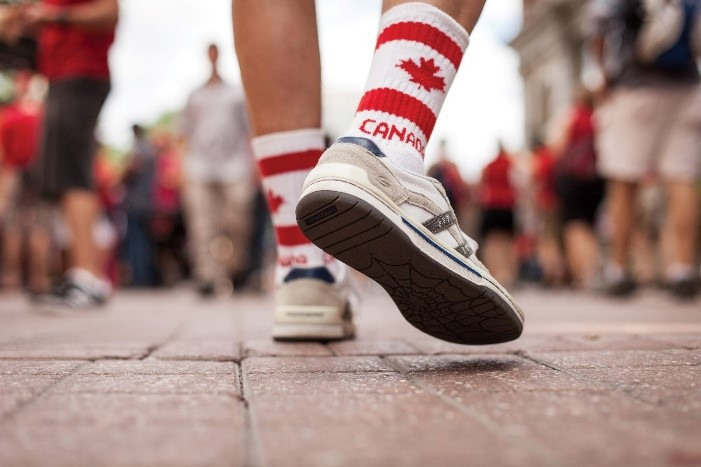 Photograph of a person walking in Ottawa
