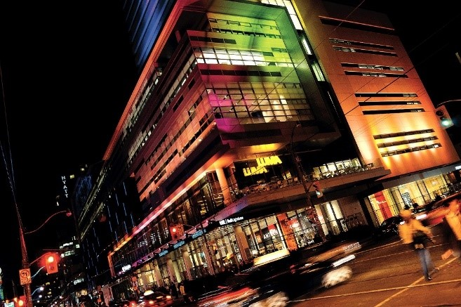 Photography of a building at night in Toronto
