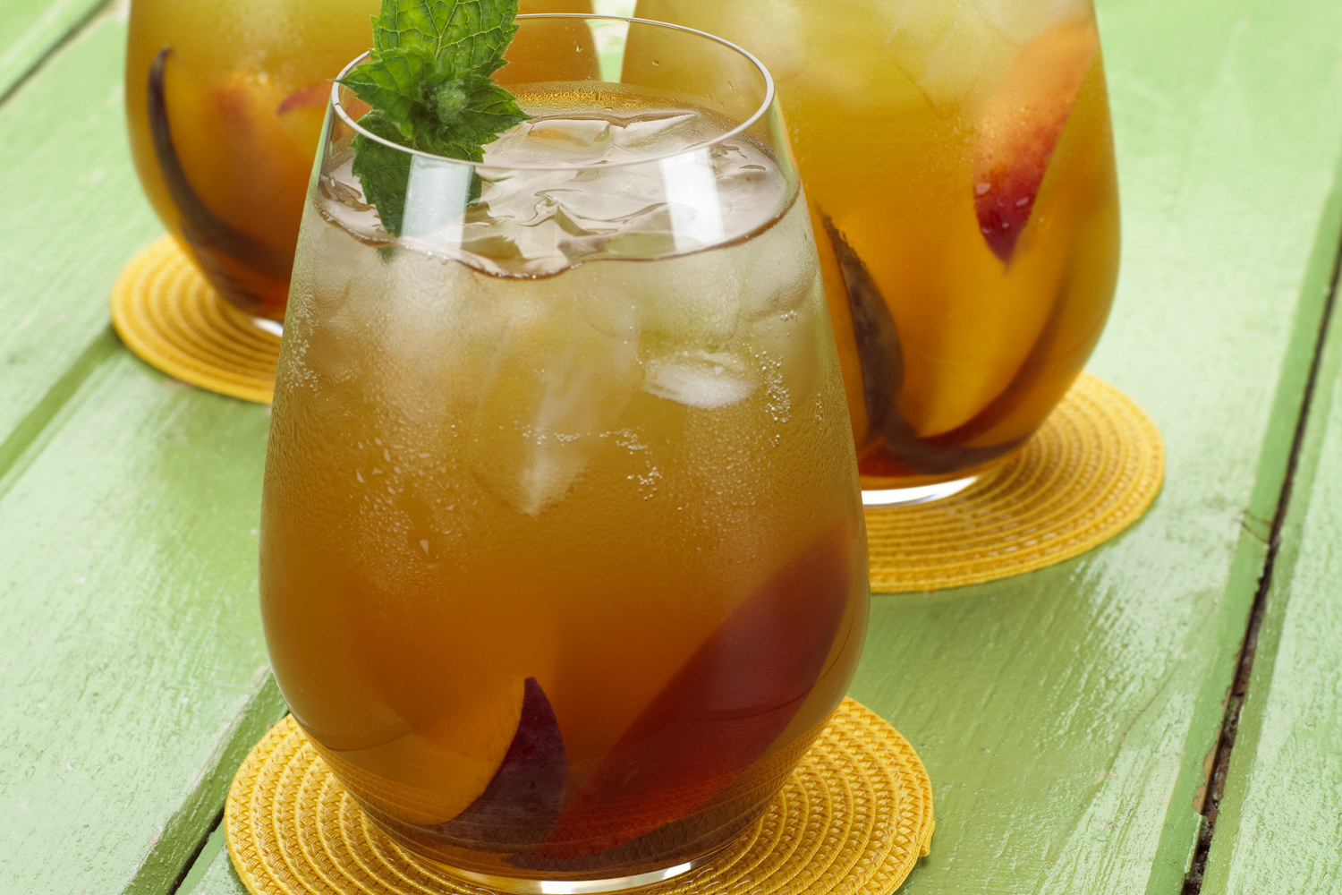 Jasmine Mint Spritzer with Plums and Peaches