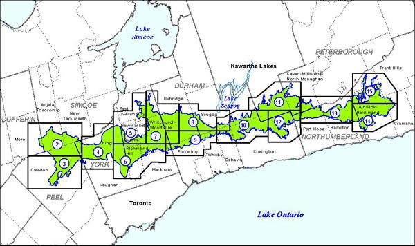 carte de la zone de conservation de la moraine d'Oak Ridges divisée en18secteurs, présentés ci-dessous