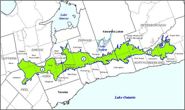 carte de la zone de conservation de la moraine d'Oak Ridges divisée en3secteurs par des limites régionales qui montre le caractère écologique et hydrologique au moyen des cartes ci-dessous.