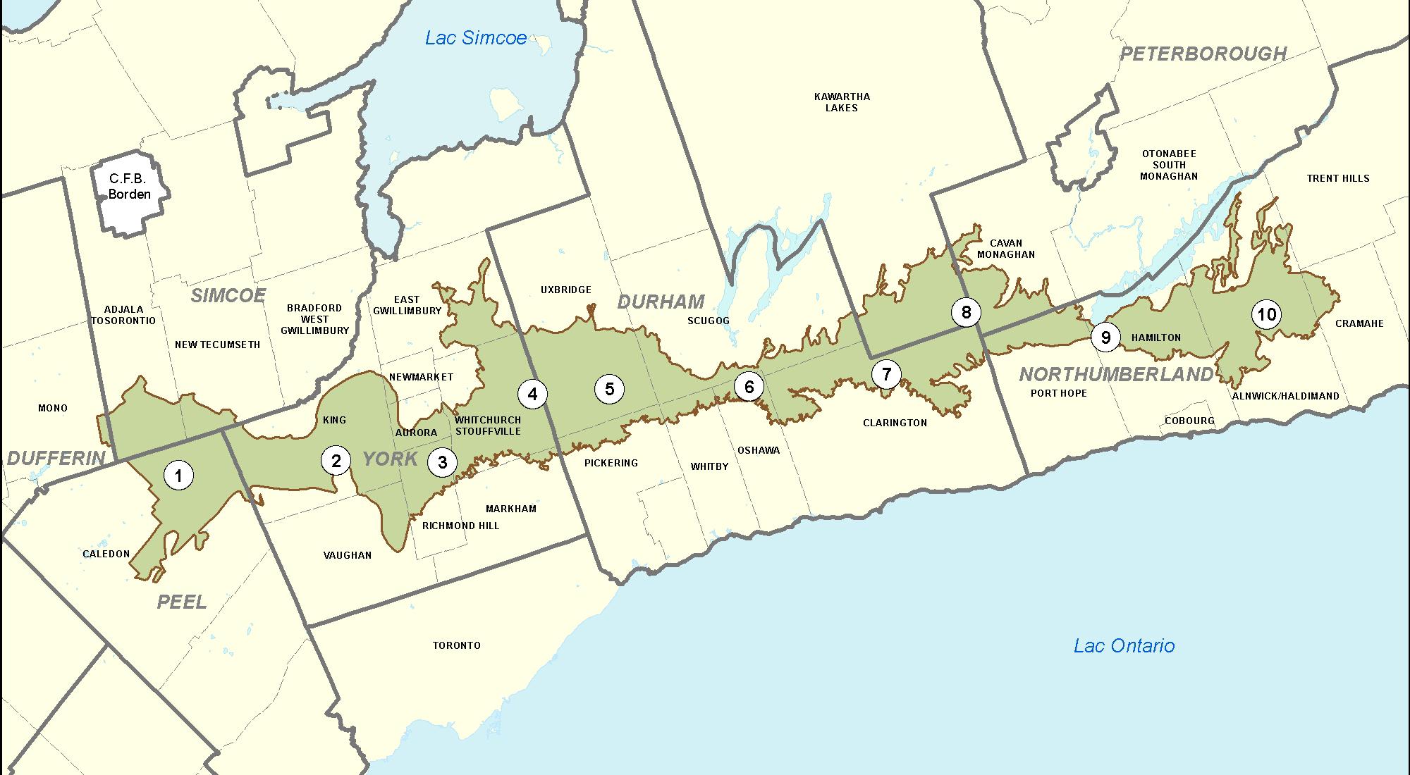 carte de la zone de conservation de la moraine d'Oak Ridges divisée en10secteurs municipaux, présentés ci-dessous.