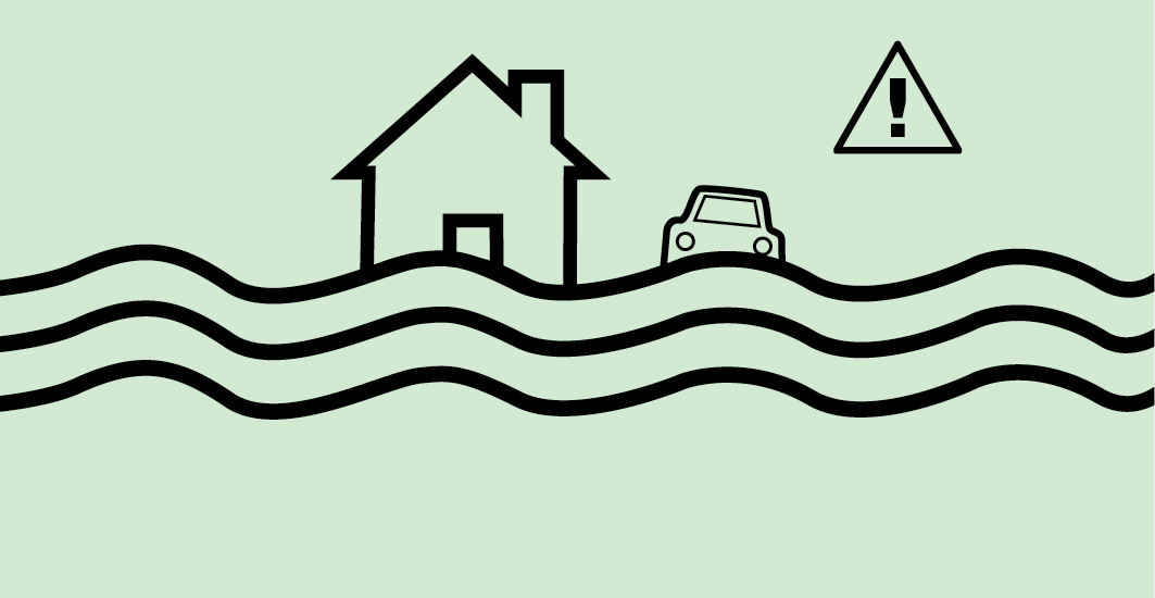image showing receding water levels and to take caution when going back to your property