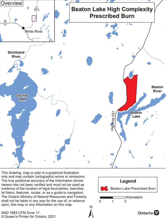 Map showing the prescribed burn area for Nawiniinginokiima Forest (Beaton Lake).
