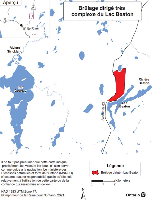 Carte montrant l'aire de brûlage dirigé de la forêt Nawiniinginokiima (lac Beaton), district de Wawa. L'aire de brûlage est en rouge et se situe le long de l'autoroute 631, près du lac Beaton.