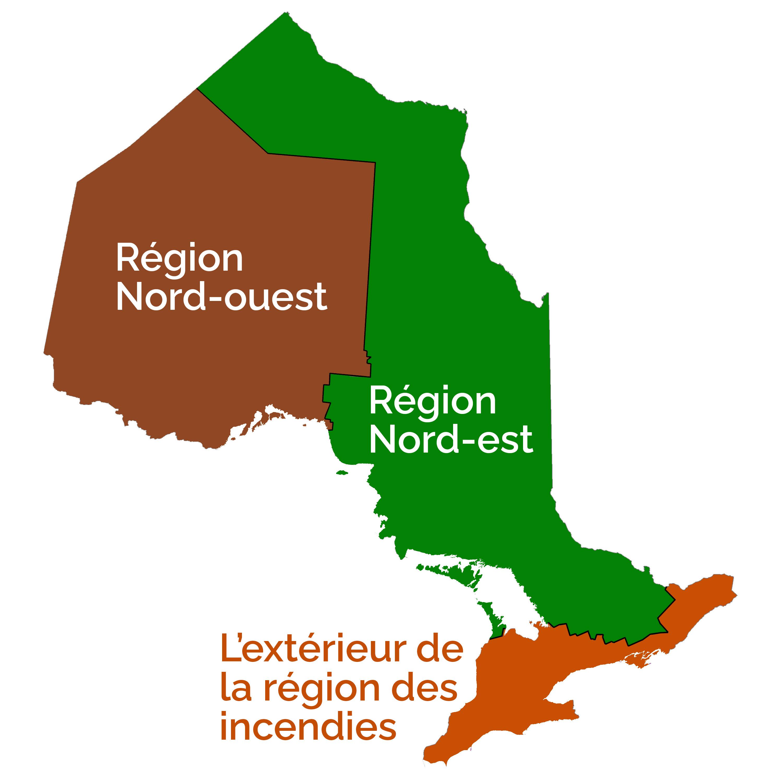 La région nord-ouest se trouve au nord et à l'ouest de Sault-Sainte-Marie. La région est se trouve à l'est de Sault-Sainte-Marie. Les territoires au sud d'Owen Sound et d'Ottawa sont à l'extérieur de la région d'incendies.