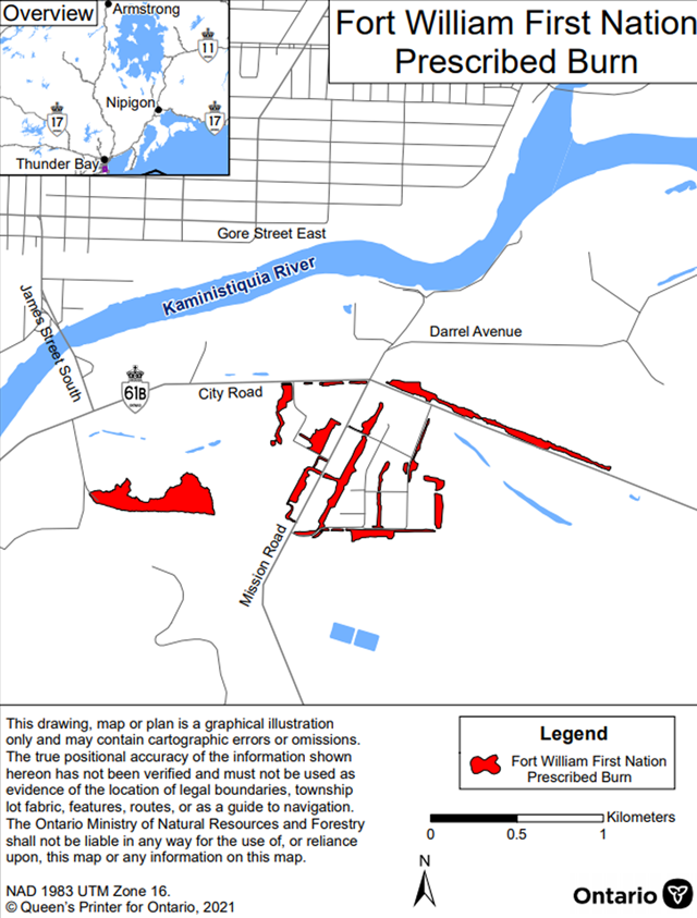 Map showing the prescribed burn area for Fort William First Nation – Thunder Bay District. The area to be burned is shown in red and is located in the area of City and Mission Roads.