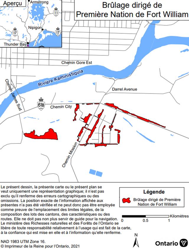 Carte montrant l'aire de brûlage dirigé de la Première Nation de Fort William  – District de Thunder Bay. 'aire de brûlage est en rouge et se situe dans les environs des chemins Mission et City.