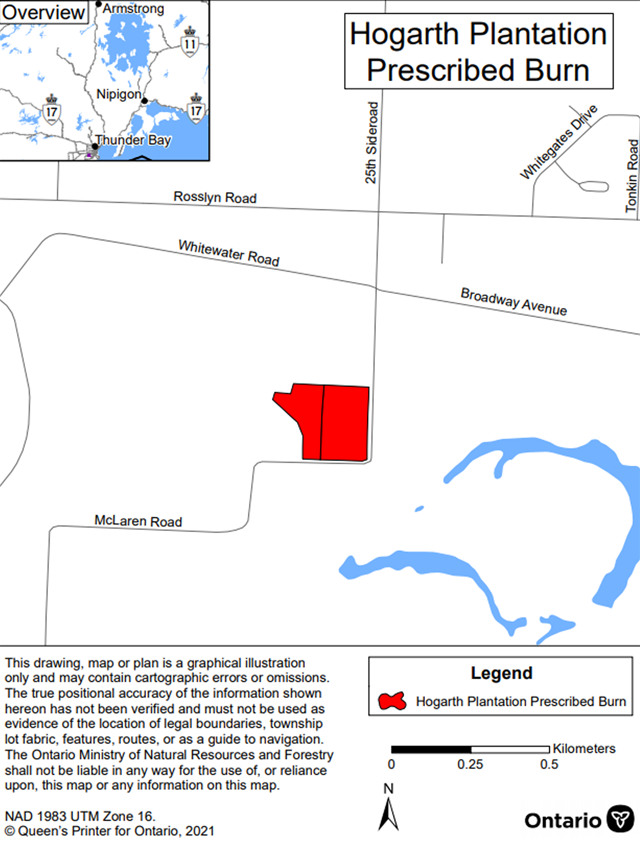 Map showing the prescribed burn area for Hogarth Plantation– Thunder Bay District. The area to be burned is shown in red and is located on McLaren Road south of the intersection between Whitewater and Broadway Roads.