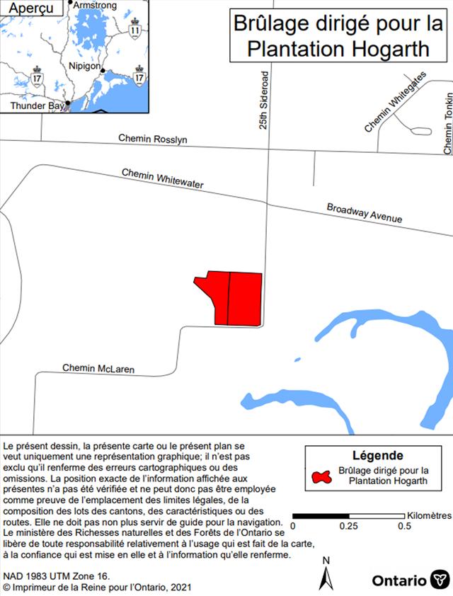 Carte montrant l'aire de brûlage dirigé de la plantation Hogarth, district de Thunder Bay. L'aire de brûlage est en rouge sur la carte, sur McLaren Road, au sud de l'intersection, entre Whitewater Road et Broadway Road.