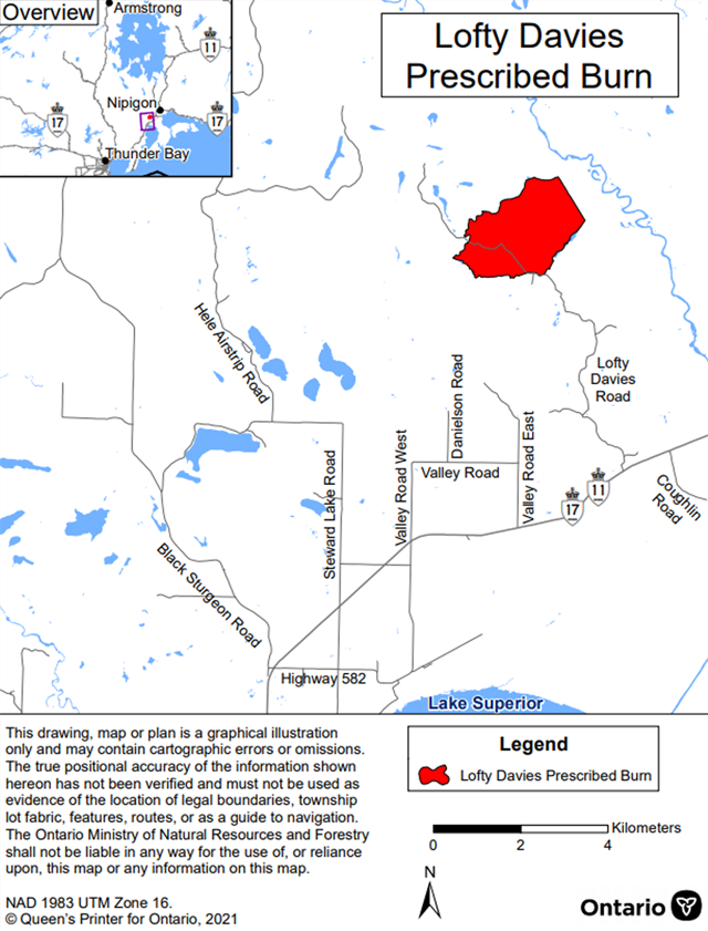 Map showing the prescribed burn area for Lofty Davies – Nipigon Bay District. The area to be burned is shown in red and is located near the end of Lofty Davies Road.