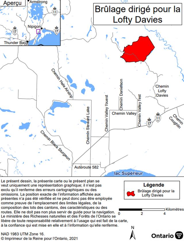 Carte montrant l'aire de brûlage dirigé Lofty Davies, district de Nipigon Bay. L'aire de brûlage est en rouge et se situe près de la fin de Lofty Davies Road.