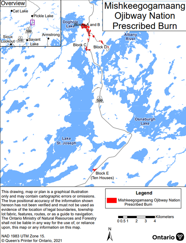 Map showing the prescribed burn area for Mishkeegogamaang Independent First Nation – Sioux Lookout District. The area to be burned is shown in red and is located in various locations off Highway 599 mostly between Doghole Lake and Albany River.