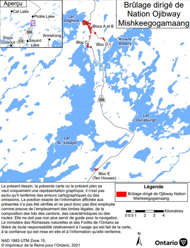 Carte montrant l'aire de brûlage dirigé de la Première Nation indépendante Mishkeegogamaang, district de Sioux  Lookout. L'aire de brûlage est en rouge et se répartit en divers endroits près de l'autoroute 599, surtout entre le lac Doghole et la rivière Albany.