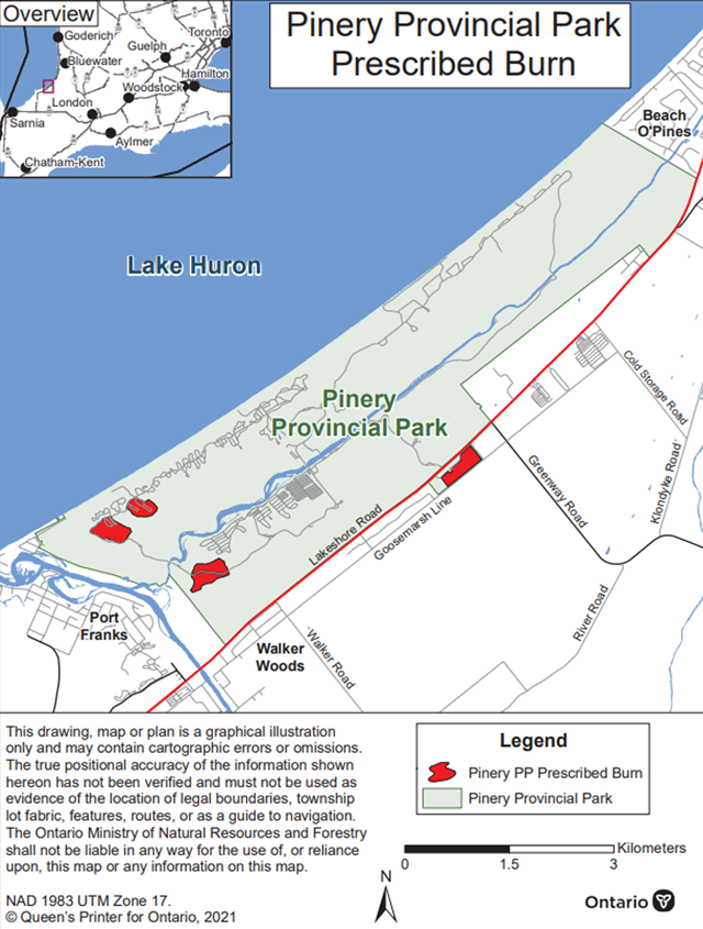 Map showing the prescribed burn area for Pinery Provincial Park. The area to be burned is shown in red and is off Goosemarch Line and other areas in the west side of the park.