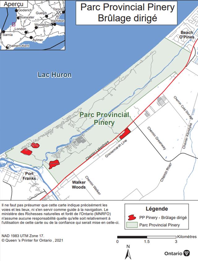 Carte montrant l'aire de brûlage dirigé du parc provincial The Pinery. L'aire de brûlage est en rouge, à proximité de Goosemarch Line et d'autres zones du côté ouest du parc.