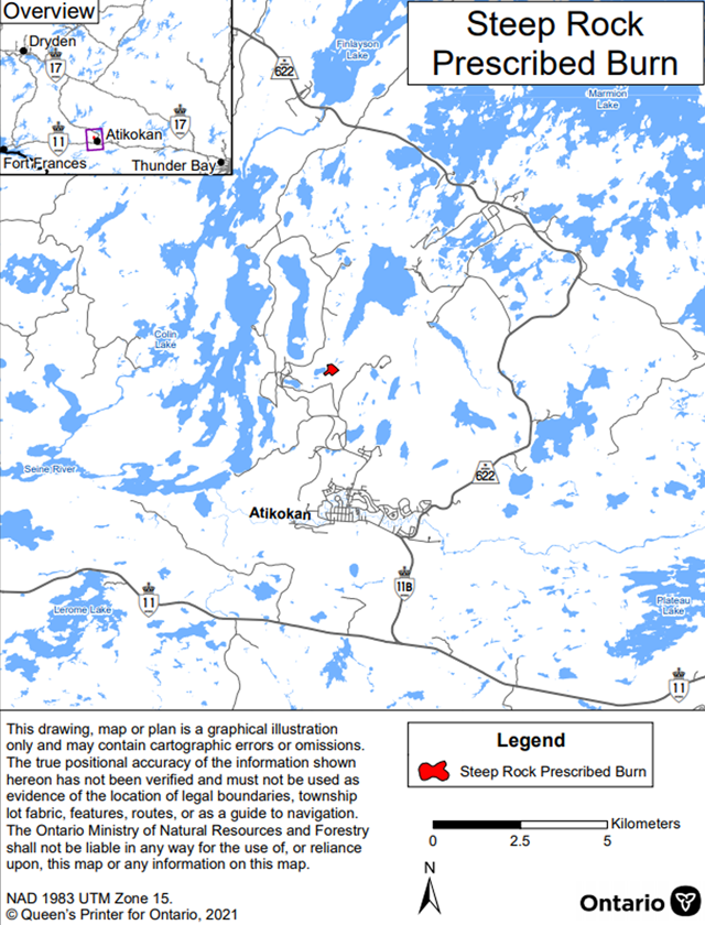 Map showing the prescribed burn area for Steeprock Mine Rehabilitation Project – Fort Frances District. The area to be burned is shown in red and is located north of Atikokan off Steep Rock Lake.