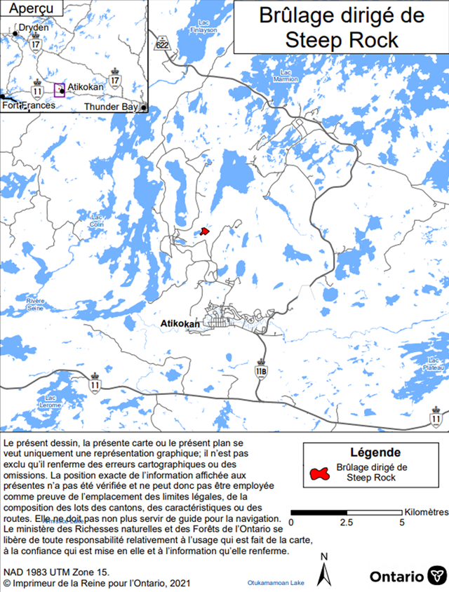 Carte montrant l'aire de brûlage dirigé du projet de réhabilitation de la mine Steep Rock, district de Fort Frances. L'aire de brûlage est en rouge et se trouve au nord d'Atikokan, près du lac Steep Rock.