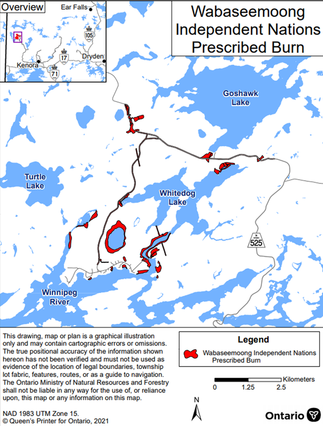Map showing the prescribed burn area for Wabaseemoong Independent First Nation – Kenora District. The area to be burned is shown in red and is located in various locations off Highway 525, Whitedog Lake, Winnipeg River, and the lake north of the Whitedog Post Office.
