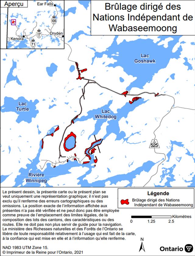 Carte montrant l'aire de brûlage dirigé de la Première Nation indépendante Wabaseemoong, district de Kenora. L'aire de brûlage est en rouge et se répartit en divers endroits près de l'autoroute 525, du lac Whitedog, de la rivière Winnipeg et du lac au nord du bureau de poste de Whitedog.