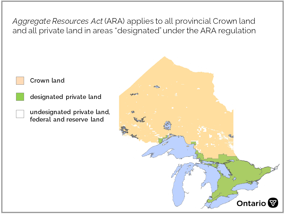 map illustrates Ontario's Crown land is captured under the ARA.  Private land in southern Ontario is designated under the ARA. There are some pockets of private land in northern Ontario that are not designated under the ARA.